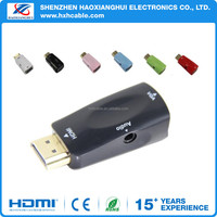 Full HD HDMI Male to VGA Female Audio Converter Adapter for HDTV Laptop Monitor
