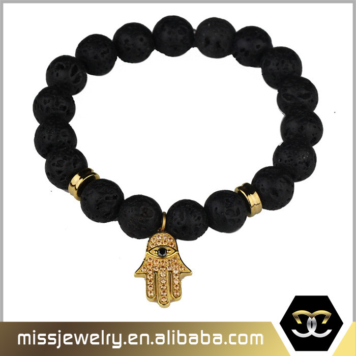 18k gold plated cz paved diamond hamsa hand charms black lava stone bracelet for girl
