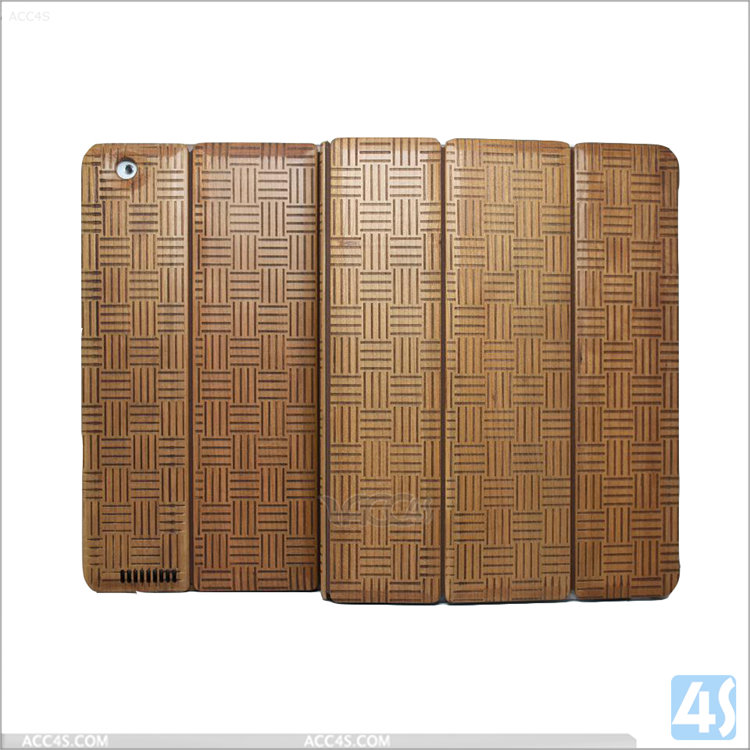 Shockproof Kids Tablet Case Factory OEM Hard Case cover for iPad 2/3/4 ,Three Folding Wood + PU Leather Case for iPad 2 3 4