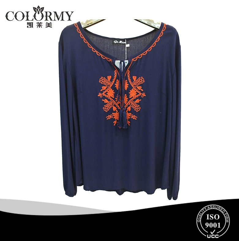 latest new style rayon embroidery lady loose tops long sleeve elastic cuff blouse