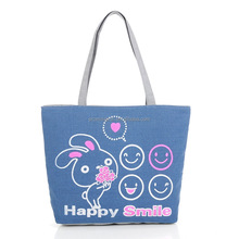 Popular style good quality cute shoulder cheap zipper fashion canvas tote bag