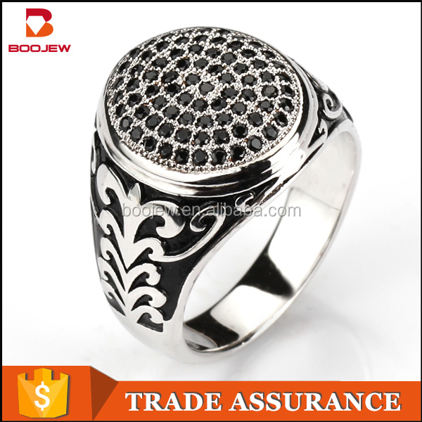 Turkish jewellery black dyeing and white gold plated vintage natural CZ stone ring 925 sterling silver rings for men