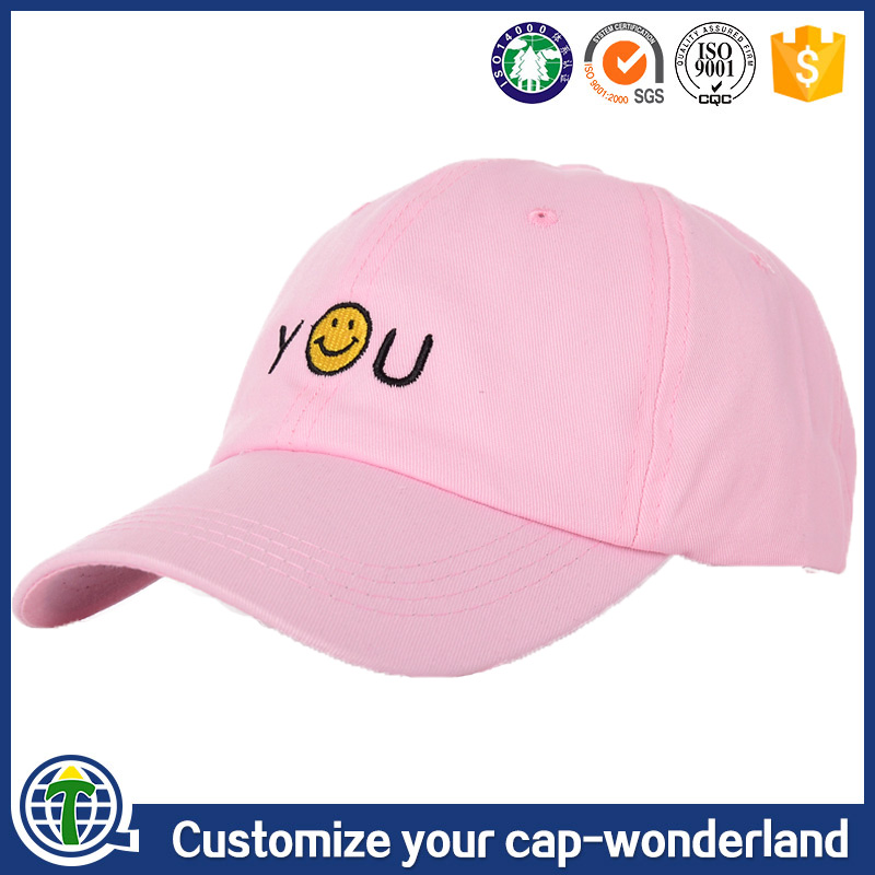 Fashion pink mlb baseball <strong>cap</strong> emoji face <strong>cap</strong>, 6 panel embroidered unstructured kids wholesale blank plain custom dad <strong>cap</strong> dad hat