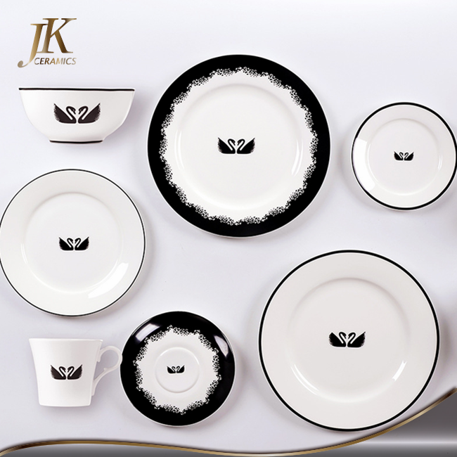 Chinese new year sales promotion white dinnerware sets dishes and plates