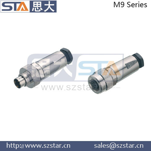 straight and right angle connector, docking female and male M9 connector