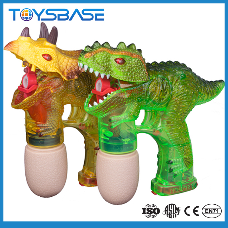 Electric dinosaur toy bubble gun with LED flash light up sound and soap bubble water toy