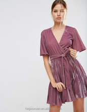 High fashion Ladies Velvet V neck Pleated Sexy Mini Dress Daily Wear