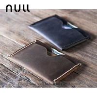 Genuine leather men's card holder with money slot