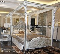 Neoclassic bed with luxury style carved canopy bed ( BJ SS04