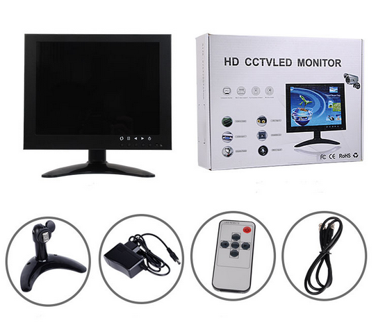 12 inch 16:9 720P metal case tv monitor for car