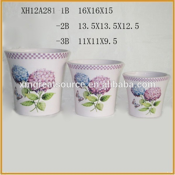 Hot sale round ceramic newest style decoration curved flower pot