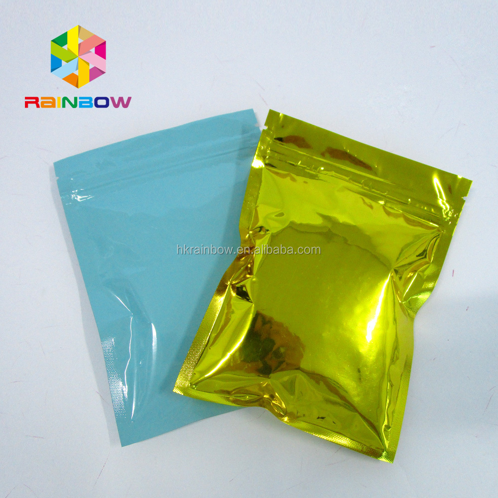 green resealable static holographic zip hanger food bags