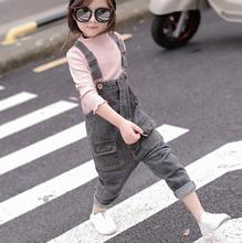 zm31828a children girls gray jean trousers casual denim jeans overalls for kids