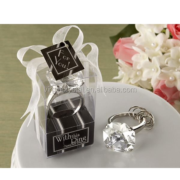 Wholesale diamond shape crystal glass key ring/keychains/keyholder for wedding favors gifts