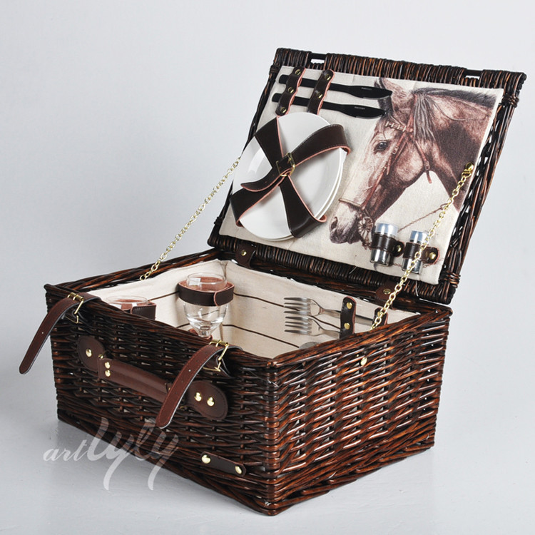 outdoor wholesale cheap wicker picnic basket set