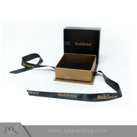 Luxury Black Small Custom Paper Gift Box Packaging Design With Ribbon