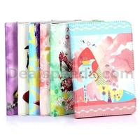 Colorful Flowers High Heel Pattern PC+ PU Leather Case for iPad Mini 1/2/3