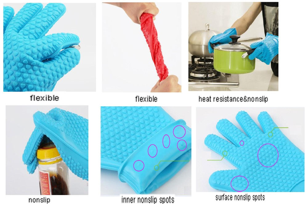 2017 Hot Salve FDA Approved Heat Resistant Silicone BBQ Gloves