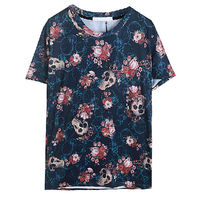 very low price vintage old custom sublimation printed lady skull t-shirt