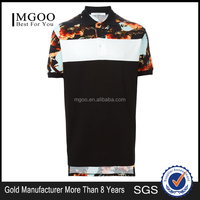 MGOO Cheap Price Floral Oversize Polo Shirt Flower Print Longline Plain Style Polo Asymmetrical Hem Design Top Clothing