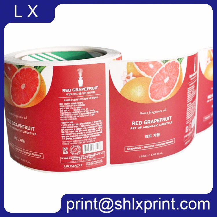 Custom Offset Printed Roll Peel Off Self Adhesive Color Bottle Label