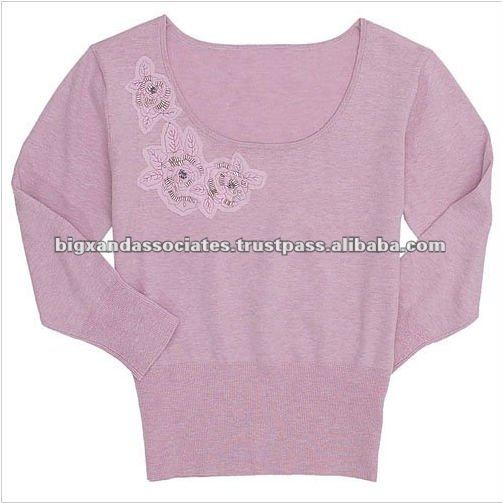 Women's Plush Jacquard V-Neck Sweater
