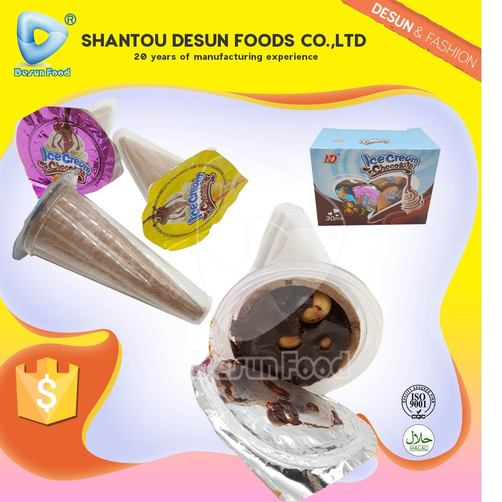 cone shape Ice cream chocolate cup with biscuit