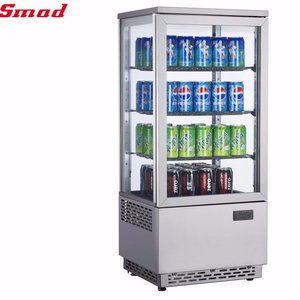 Factory Direct Commercial Cake Showcase 4 sides Glass Door Display Refrigerator Showcase