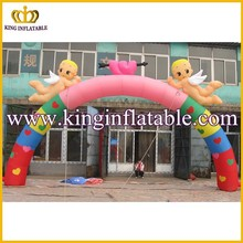 Popular Cheap Two Angel Heart Shape Inflatable Arch For Wedding