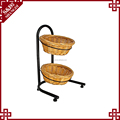 Customized 2 Tiers willow Bread retail Display Floor Stand with Willow Baskets with wheels