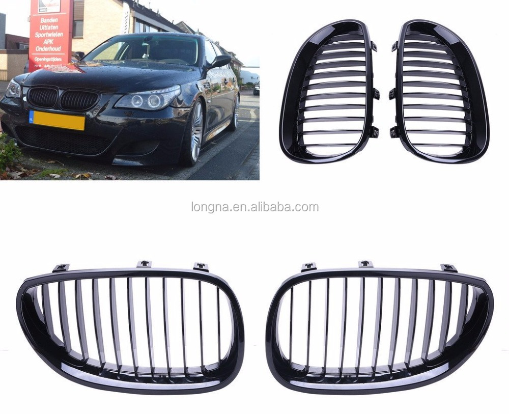 Gloss Black Front Sport Wide Kidney Grille Grill For BMW E60 E61 5 Series M5 Gril 2003-2010