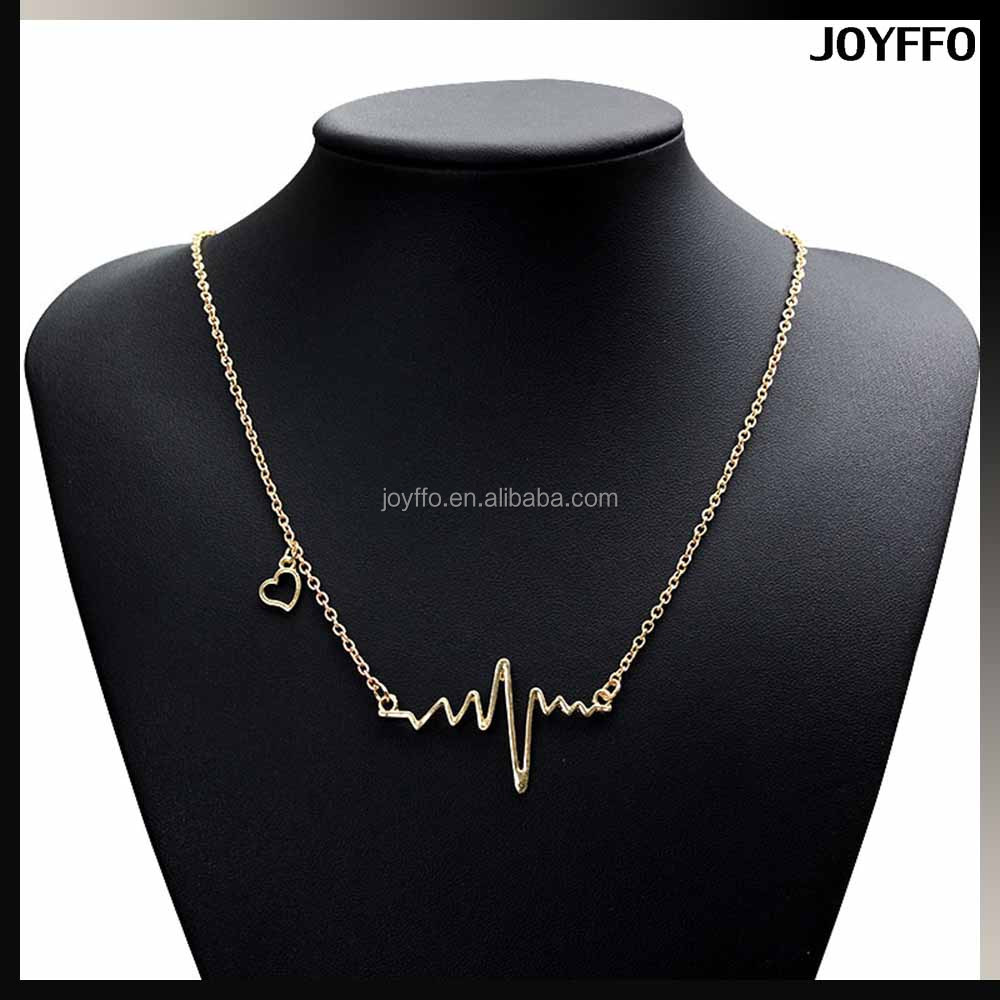 3YG-004 Fashion Accessories Jewellery Silver Gold Jewelry Women Heart Beat Pendant Necklace