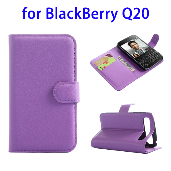 2015 New Products with Card Slots Leather for BlackBerry Q20 Phone Case