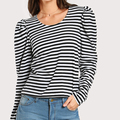 Ladies Striped Long Puff Sleeve Top T-shirts