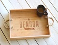 Personalization handmade wooden serving tray with hot stamped logo for sale