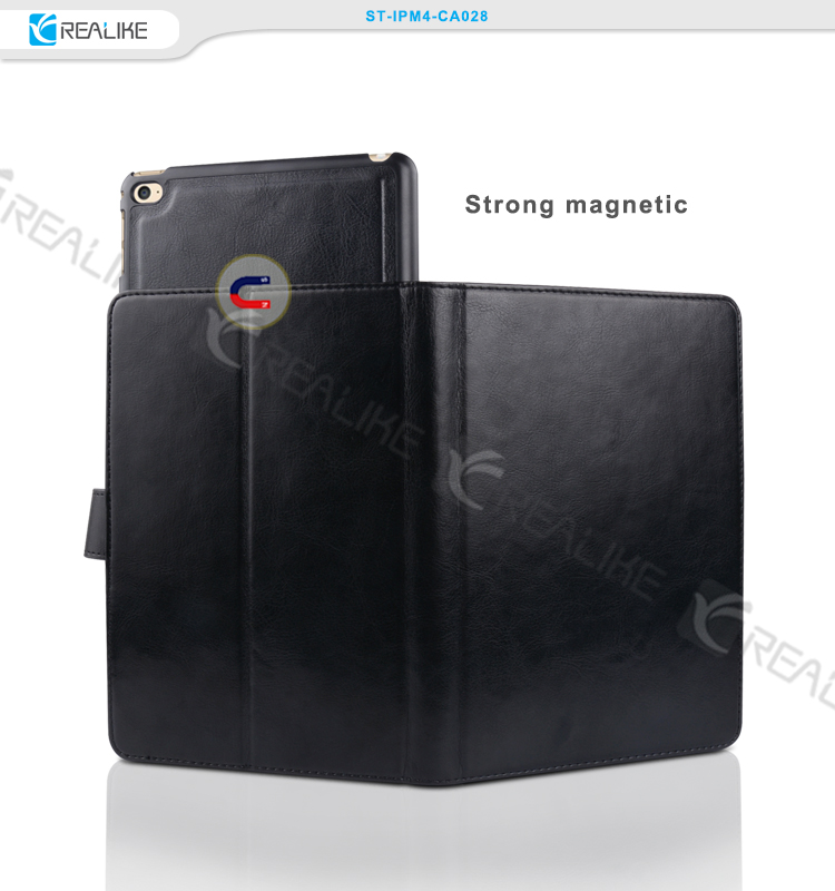 Strong magnetic pu leather tablet case for ipad mini 4
