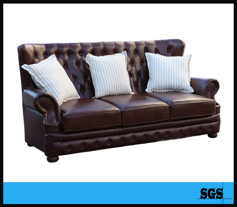 2016 hot American style three seater sectional sofa/New Classic European style leather furniture