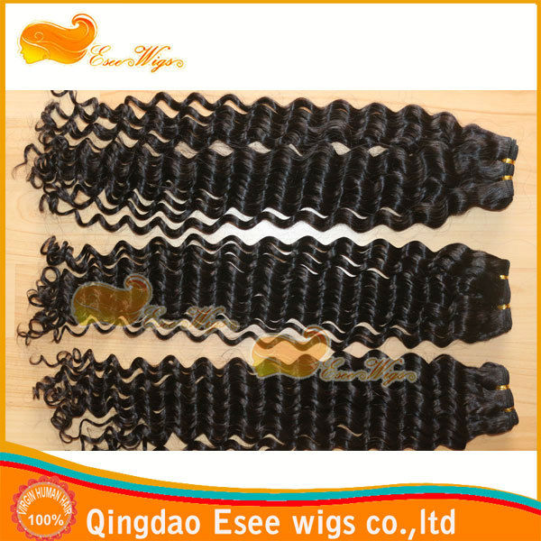 Qingdao esee hair free shipping top grade 4A hair weft 100 human hair extension deep curly natural color 100g/pc