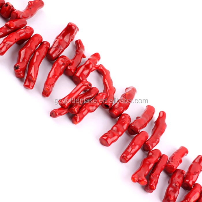 A Grade Dyed Red Coral Top-drilled Large Coral Branches Beads, Kilo wholesale