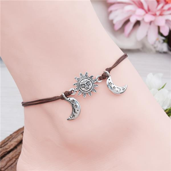 Polyester Boho Chic Anklet Antique Silver Coffee Sun And Moon Face Latest Anklet Design