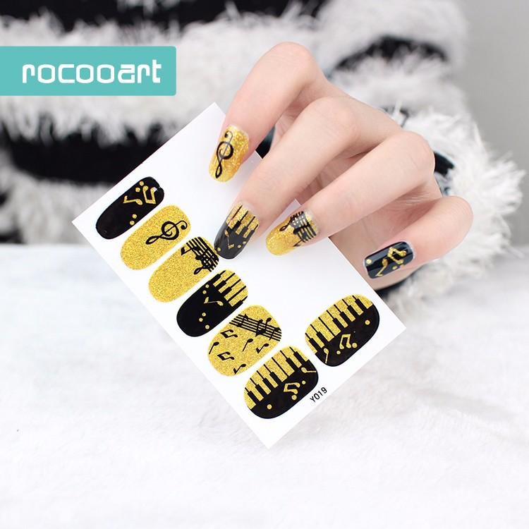 Y5019 Adhesive Nail Art Stickers Black Gold Piano Music Notation ...