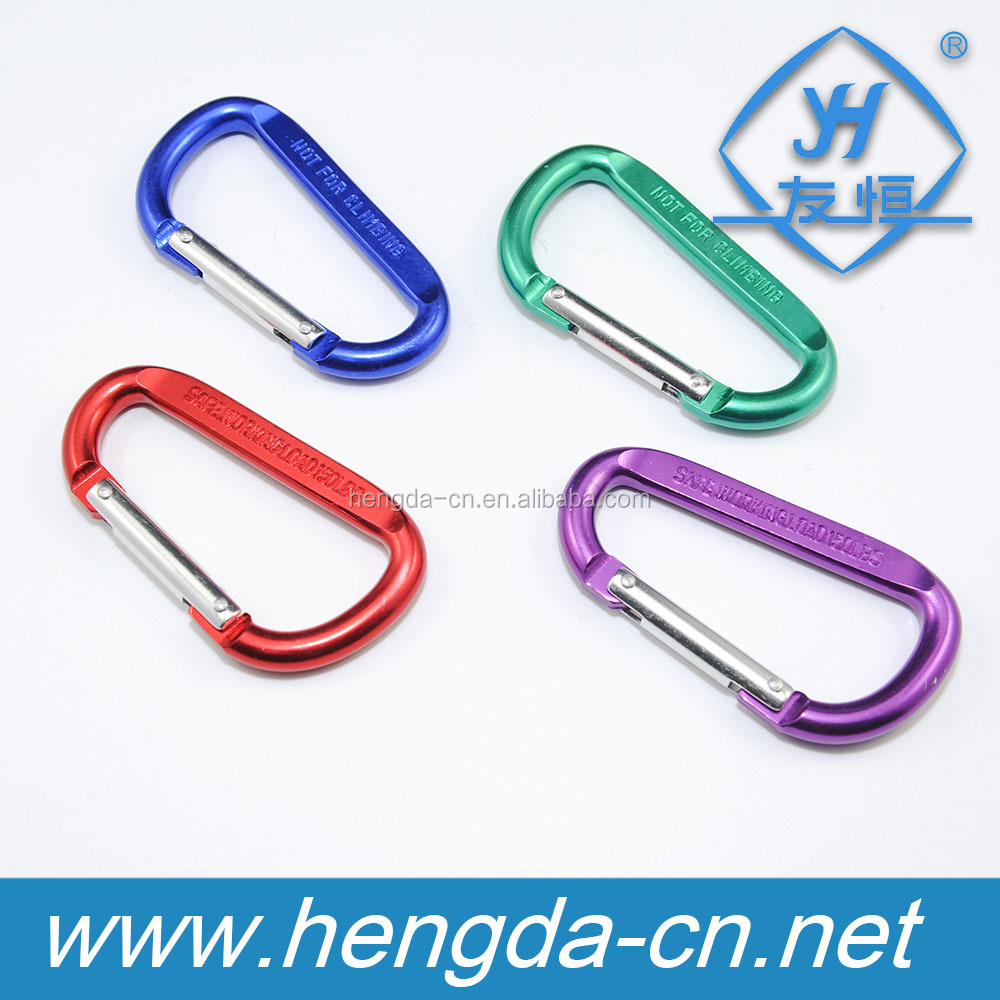 YH9049 D-Shaped Aluminum Climbing Carabiner for keys Camp Snap Hook Clip Hiking Camping Outdoor
