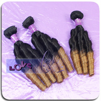 Ombre color 3 rollers-candy curl texture cheap virgin brazilian hair weave on hot sales!!
