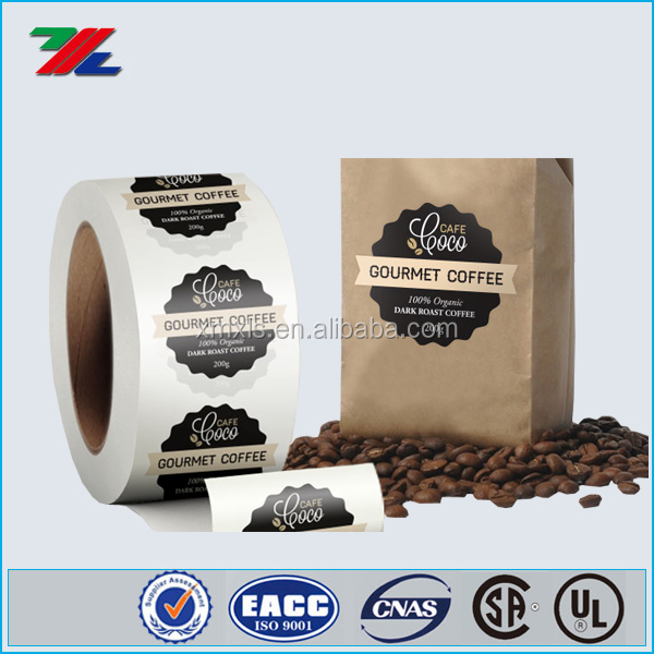 Customized coffee bag packing label, roll label