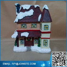 Porcelain resin village statues winter snow village Christmas decoration village figurine