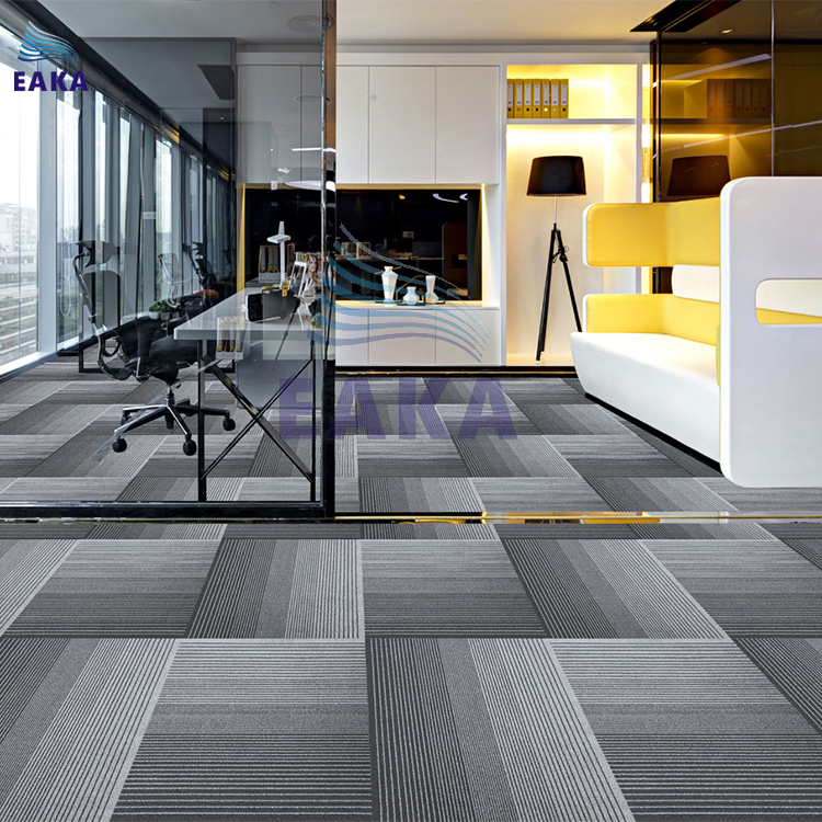 EAKA 100% polyester fire resistant commercial for office with PVC backing from China suppliers tile square carpet