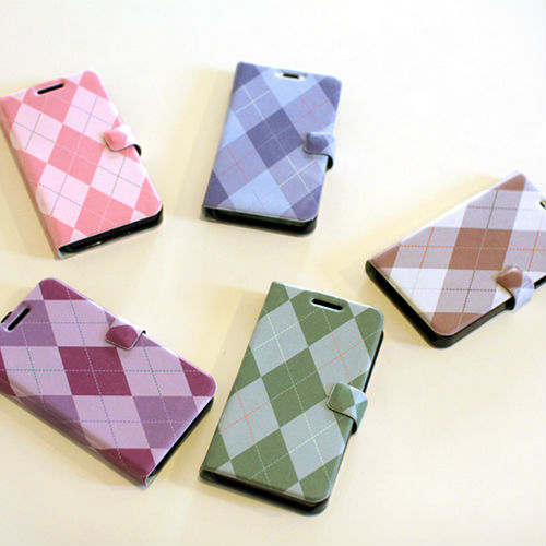 Argyle Check_Happymori Design Flip Phone Cover Case for Apple iPhone 6 (Made in Korea)