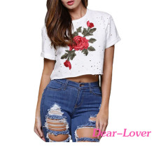 White Embroidered Flower Broken Hole ladies crop top custom print