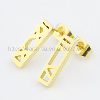 new model stud earring rectangle gold color earring without stone man jewelry