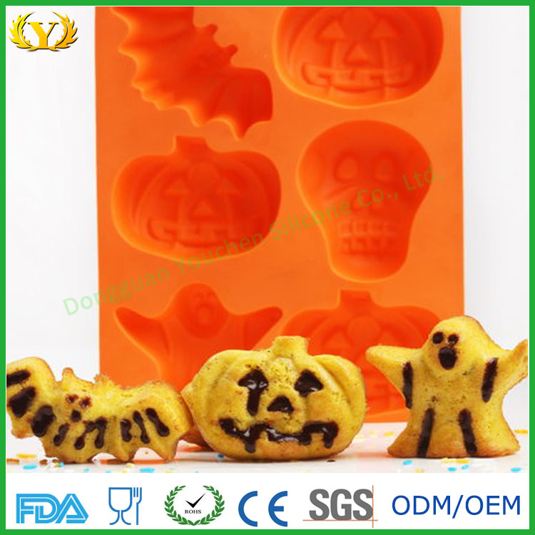 FDA Eco-friendly pumpkin ghost bat shape silicone baking cake mold for Halloween